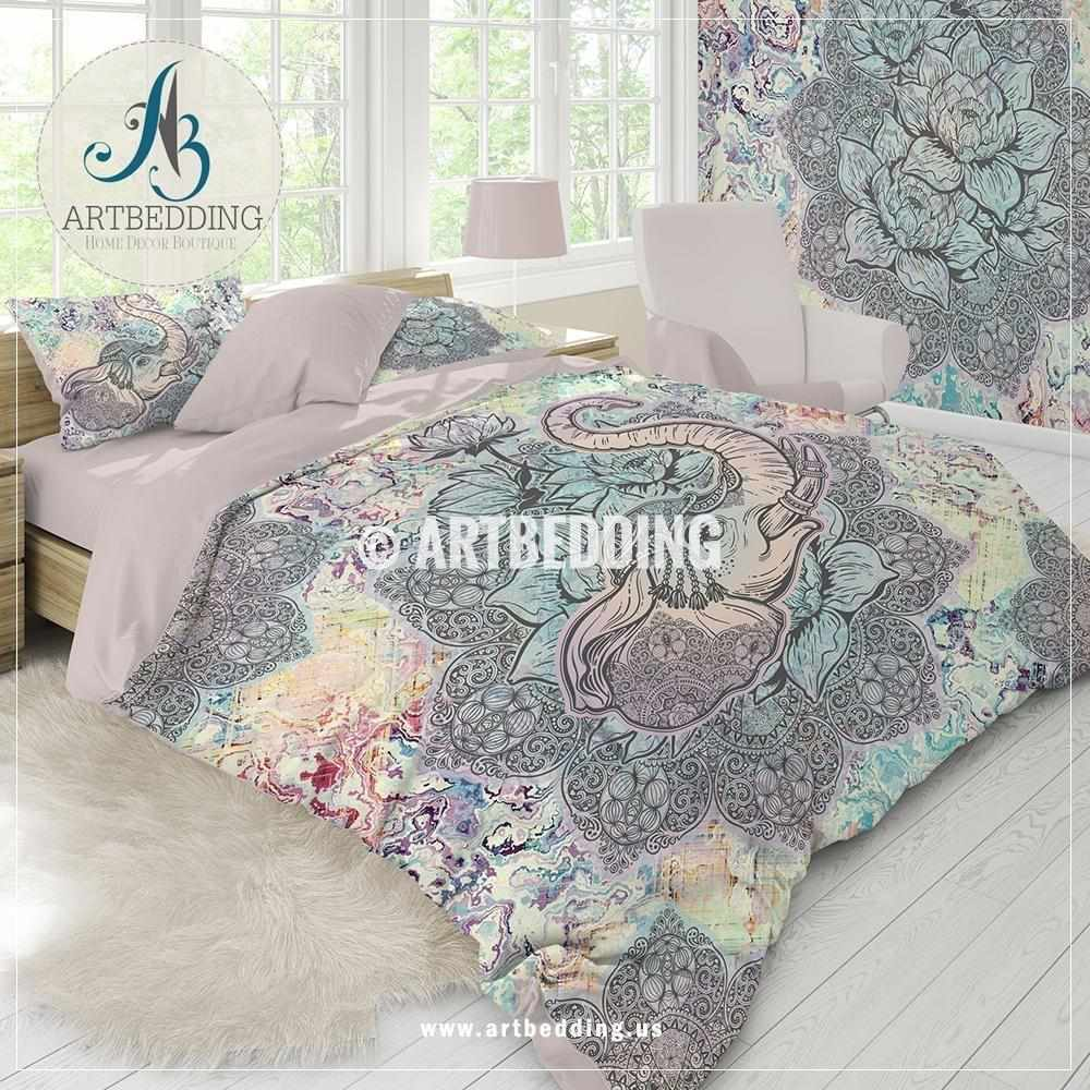 Duvet And Comforter Sets Elephant Bedding Boho Unicorn Colors Elephant Mandala Duvet Cover Set Mandala Lotus Comforter Set
