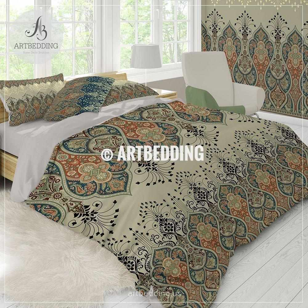 Duvet Covers And Comforters Ethno Indian Bedding Indie Motifs Tan Duvet Cover Set Traditional India Boho Paisley Comforter Set Bohemian Bedroom Decor