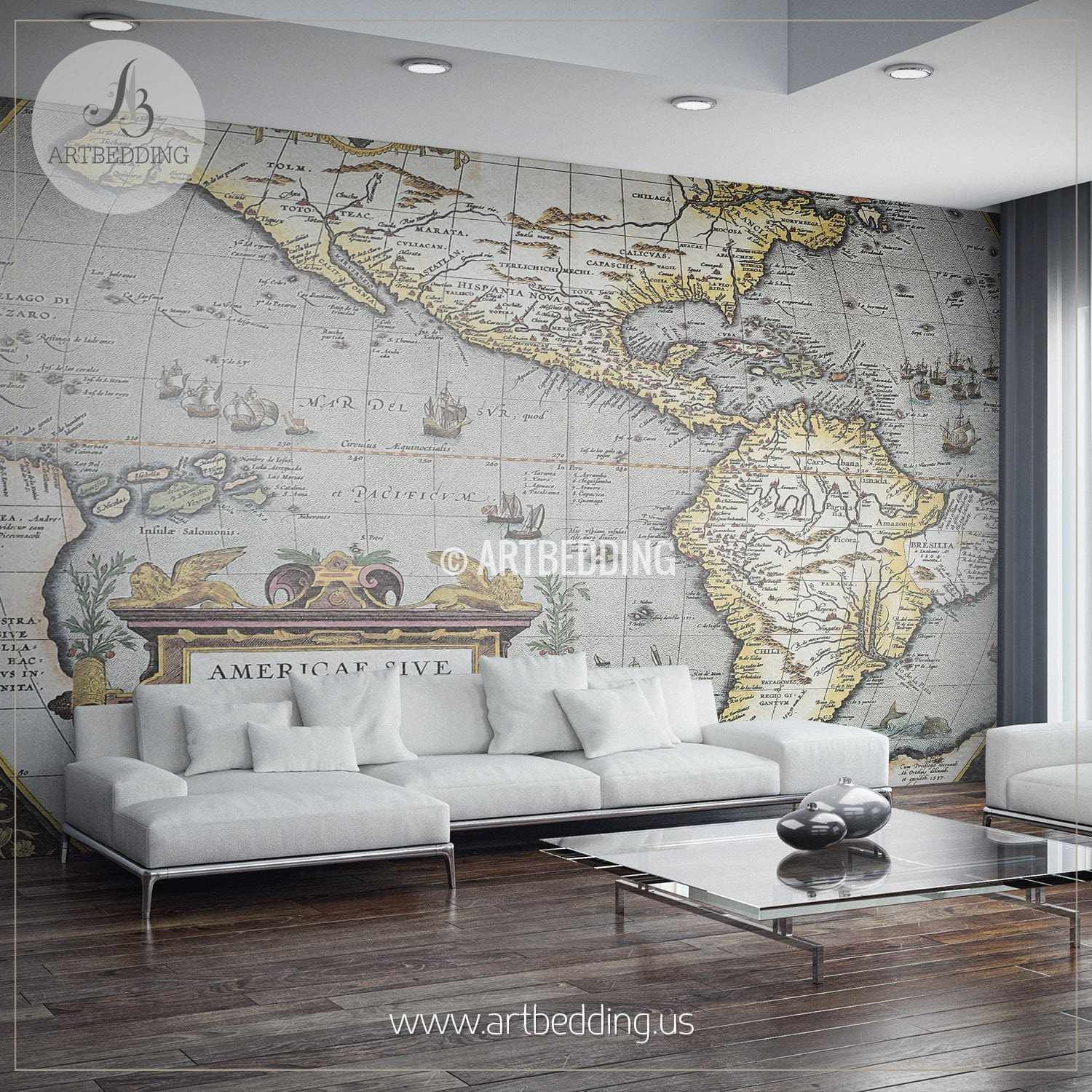 Décoration Murale Adhésive First Atlas Of America In The World 1570 Wall Mural Self Adhesive Peel Stick Photo Mural Atlas Wall Mural Mural Home Decor