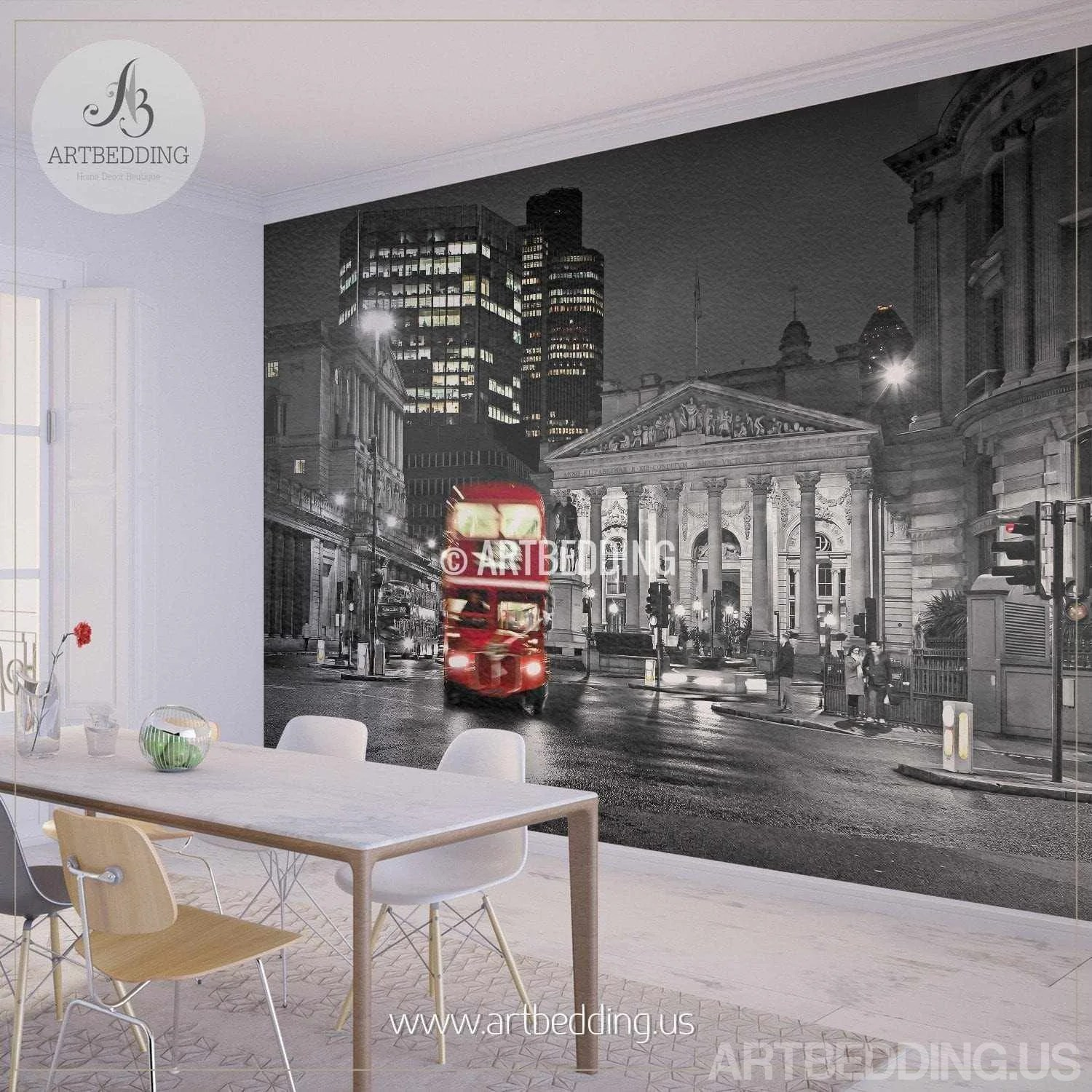 Wall Decoration Murale London In Black And Red Wall Mural London City Photo Mural London Wall Decor
