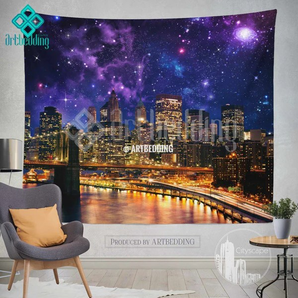 Ethno Look New York Wall Tapestry, Brooklyn Bridge At Night Wall