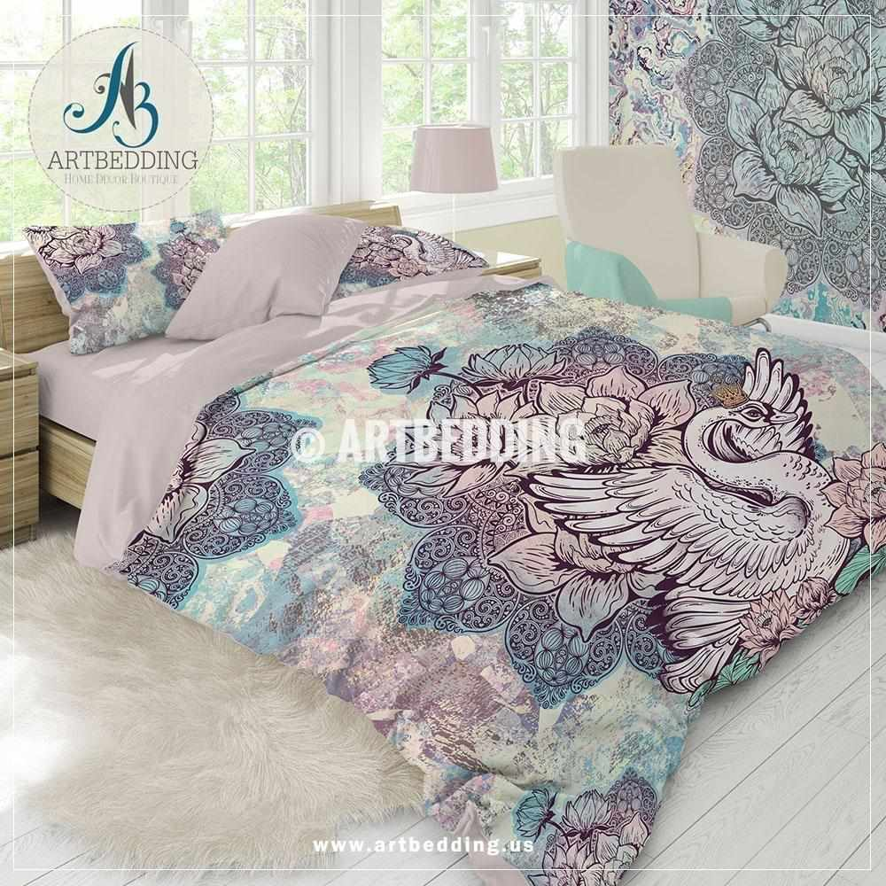 Duvet And Comforter Sets Mandala Bedding Boho Unicorn Colors Lotus Mandala Duvet Cover Set Swan Lotus Comforter Set