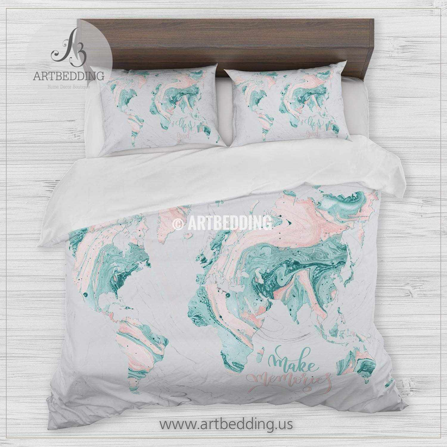 Blush Pink Quilt Cover Marble Map Bedding Teal And Blush Pink Marble Abstract Art World Map Duvet Cover Set Marble Map Comforter Set