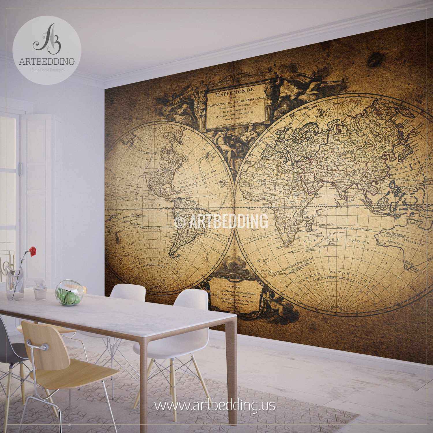 Wallpaper Murals For Bathrooms Vintage World Map 1752 Hemisphere Wall Mural Self Adhesive Peel Stick Photo Mural Atlas Wall Mural Mural Home Decor