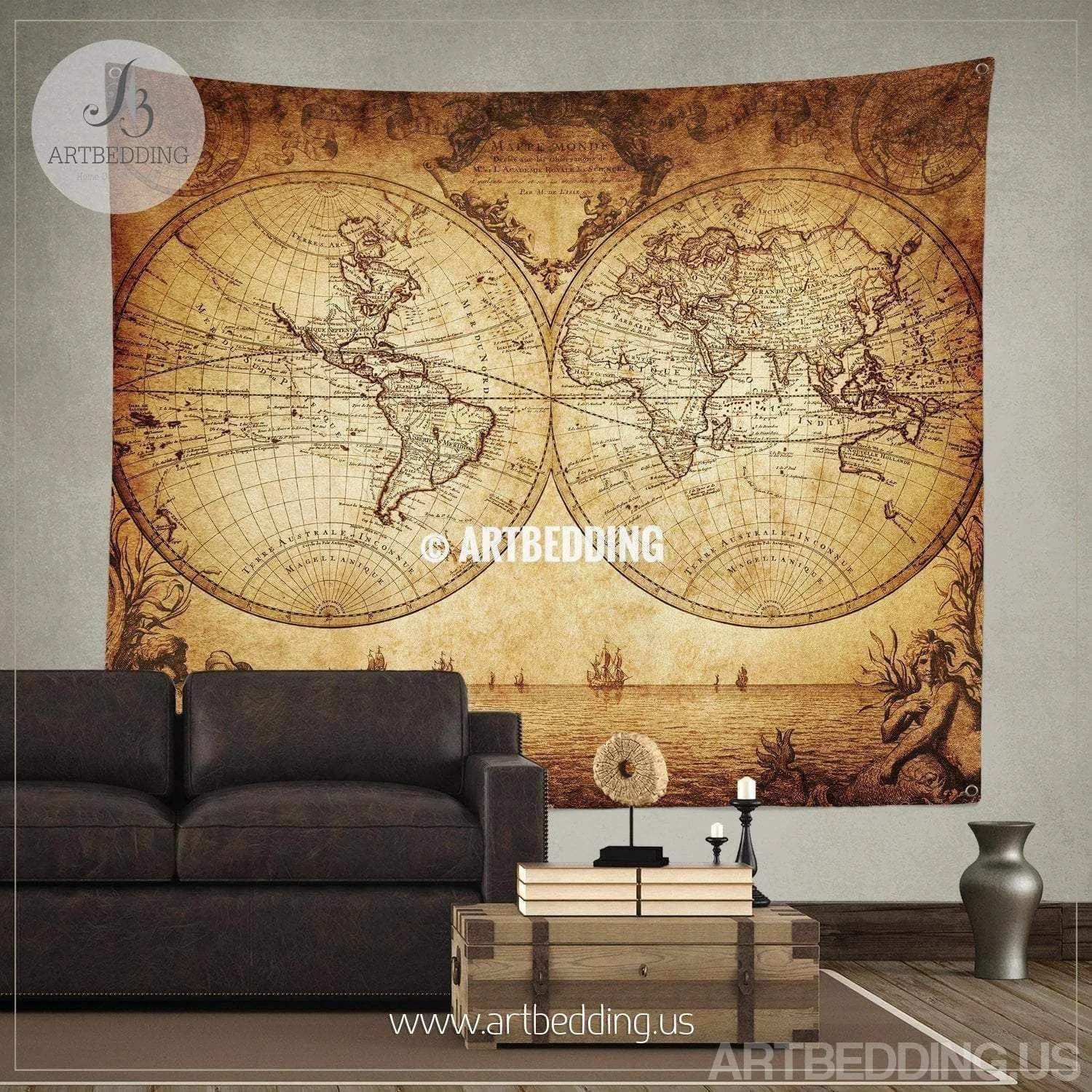 World Map Decorations Vintage Map Tapestry Old Map Wall Decor Vintage Wall Decor