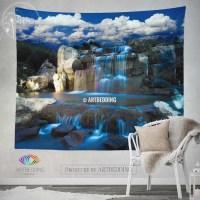 Waterfall wall tapestry, Nature wall decor, Night ...