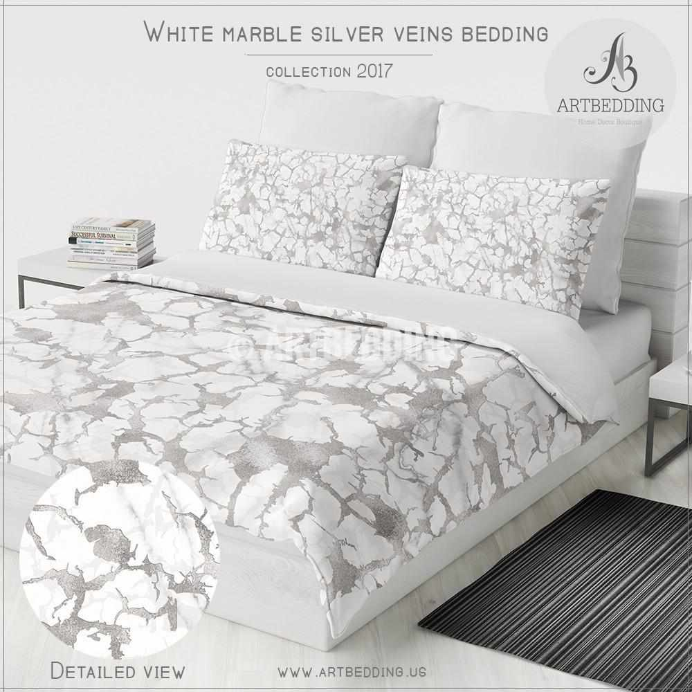 Silver Duvet Cover Marble Silver Duvet Cover White Natural Marble With Silver Foil Effect Veins Print Duvet Cover Marble Bedding Duvet Cover