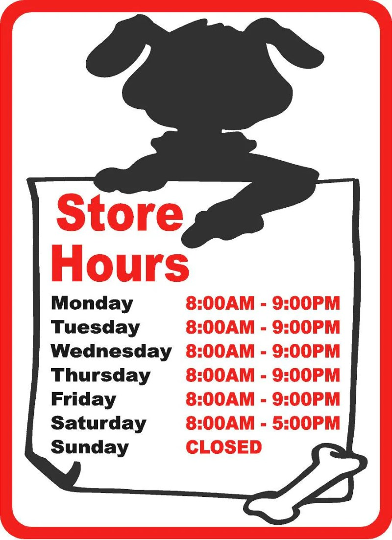 Bodacious custom pet groomer sign custom pet shop business hours fullsize of store hours sign large of store hours sign wajeb Image collections