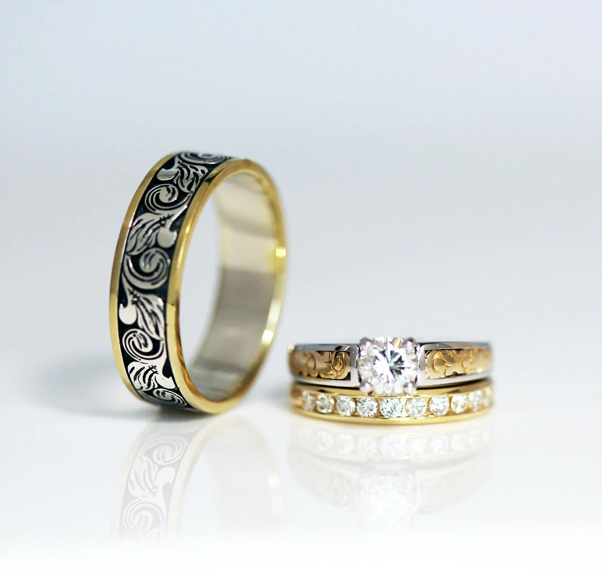 vintage engraved two toned wedding band engraved wedding bands Vintage Engraved Two Tone Wedding Band