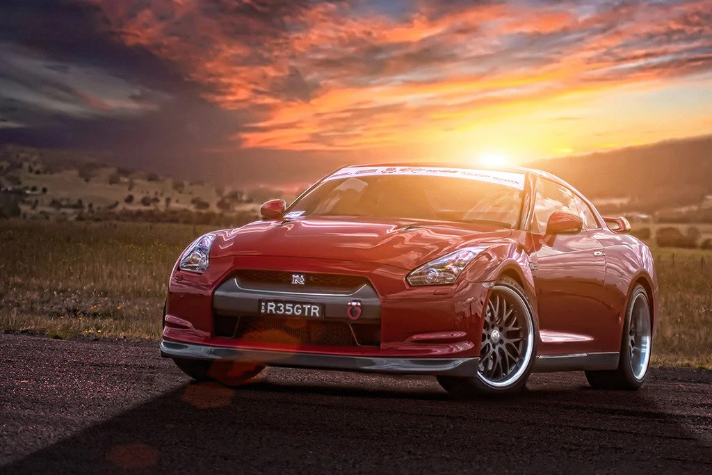 Funny Black Girl Wallpaper Nissan Gt R R35 Red Car Sunset Poster My Hot Posters