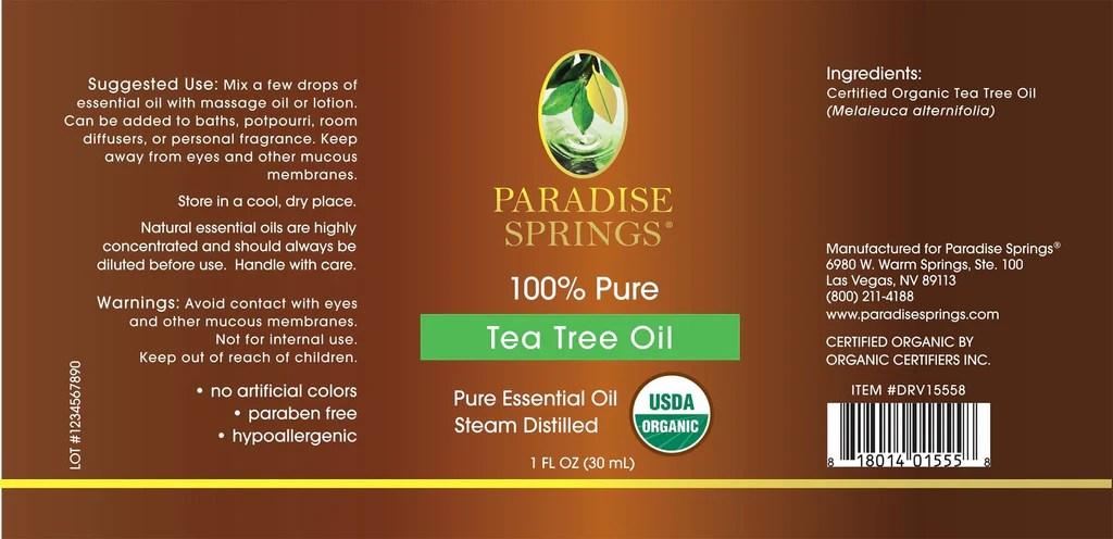 Paradise Springs Organic Tea Tree Oil 1 Oz 30 Ml Drvita