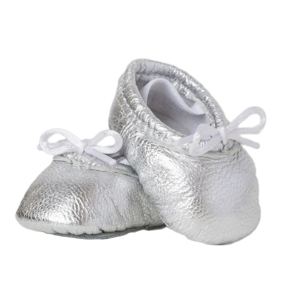 Newborn Elastic Shoes Newborn Baby Ballet Slippers Metallic Silver Leather Shoes