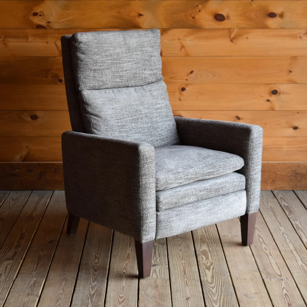 Big Slide Relaxor In Quest Coal Push Back Recliner In Gray Stain Resistant Chenille Dartbrook Rustic Goods