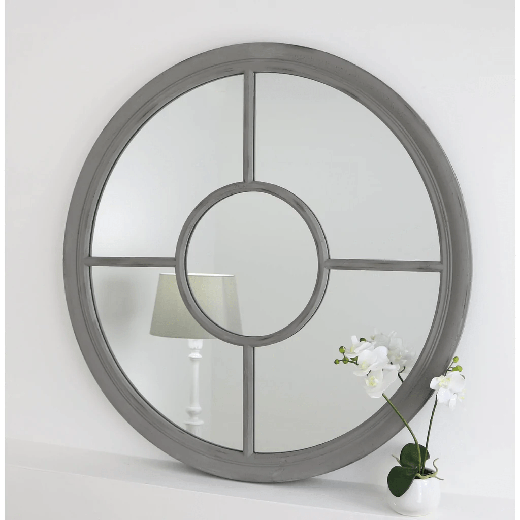 Home Salon Rennes Vintage Grey Shabby Chic Round Mirror 36