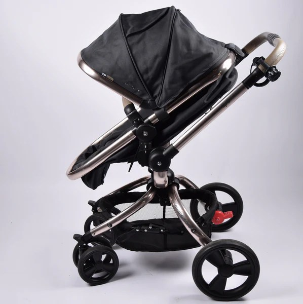 Double Pushchair With Buggy Board Mothercare Orb Dark Grey Rose Gold Chassis Grade 2