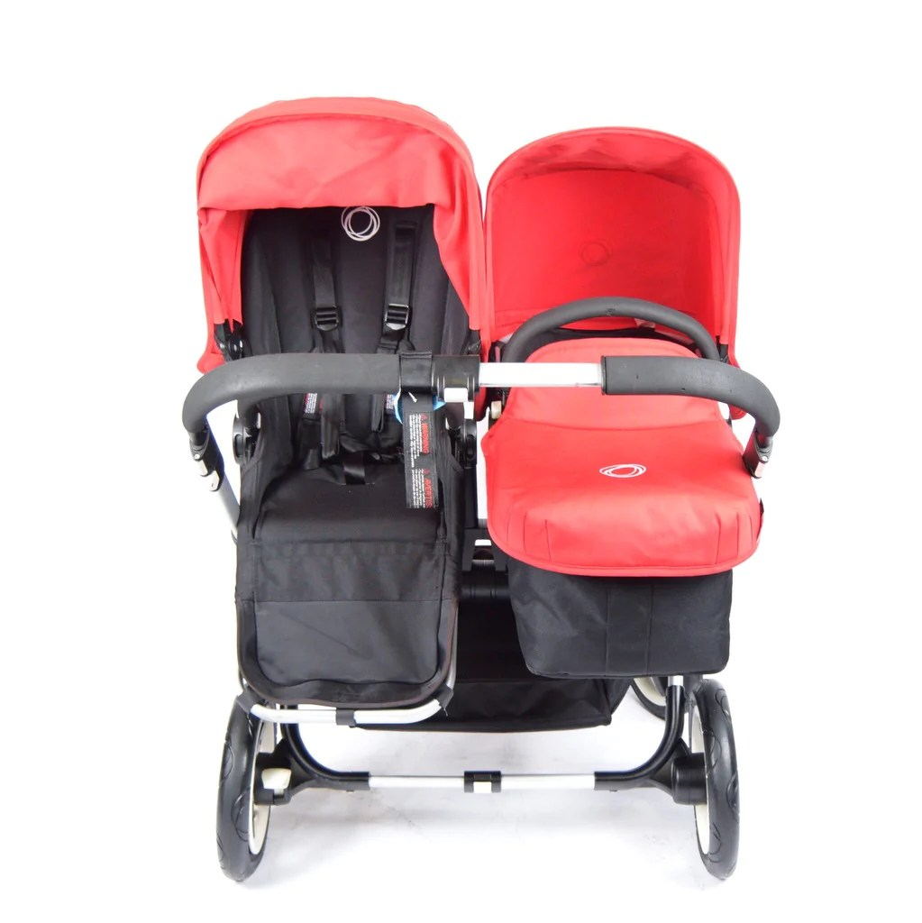 Double Pushchair Bugaboo Bugaboo Donkey Duo Black Red Silver Chassis Grade 2