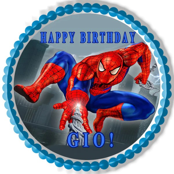Birthday Background Wallpaper Hd Spiderman 1 Edible Birthday Cake Or Cupcake Topper