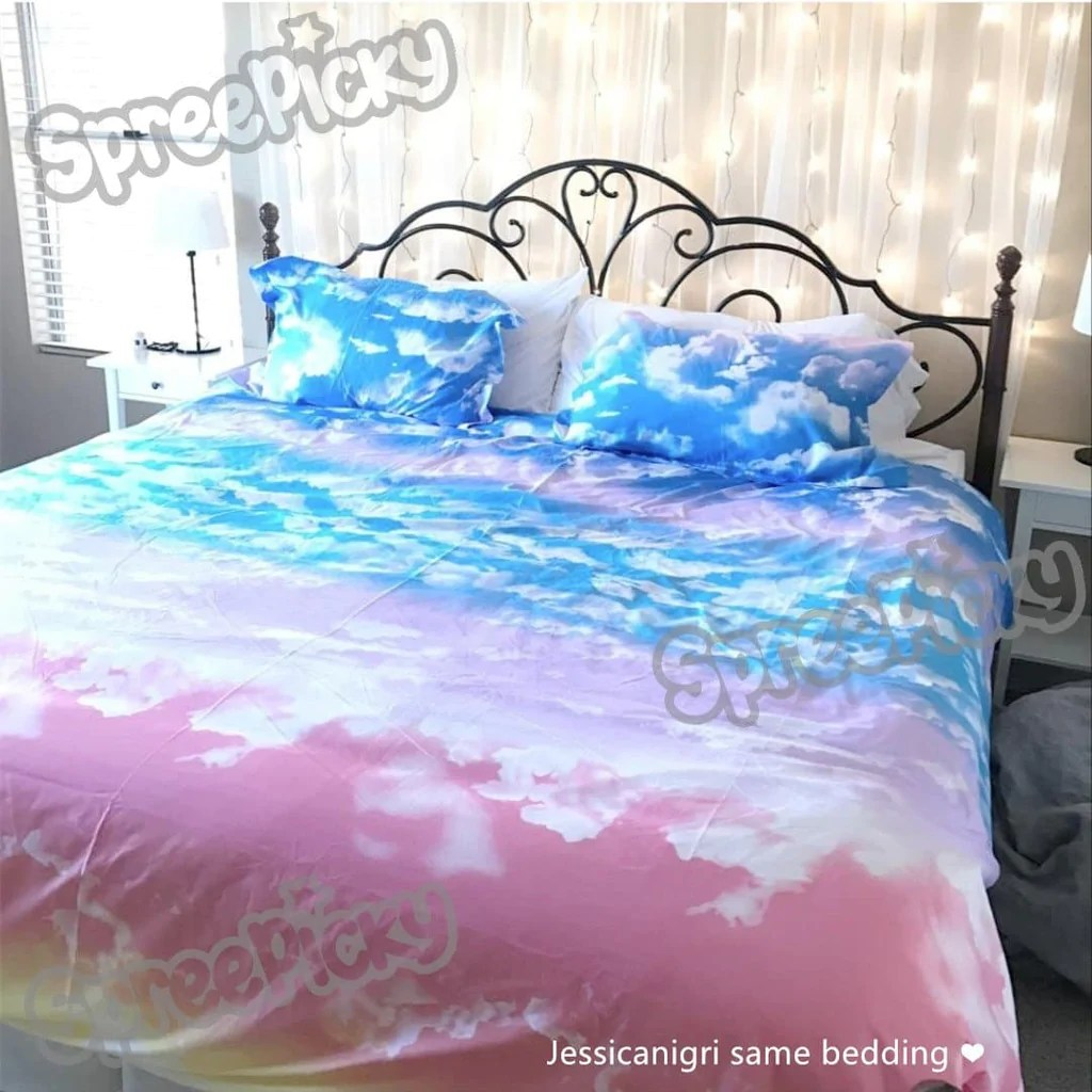Teal Bed Covers Sunset Sky Heaven Pastel Cloud Bedding Set Sp168313