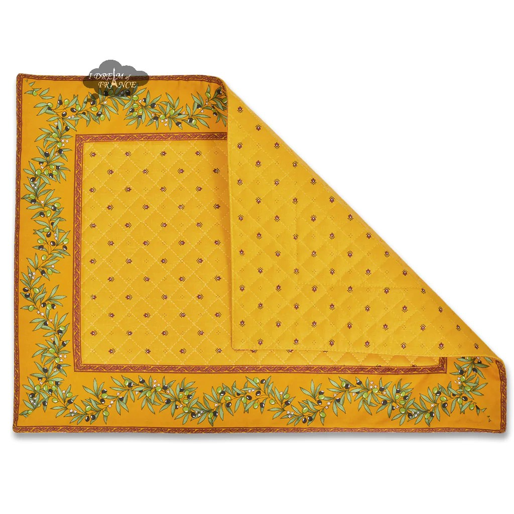 Tissus Avignon Ramatuelle Yellow Red Yellow Center Quilted Placemat By Tissus Toselli
