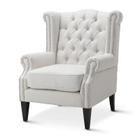 Linen White Royale Wingback Arm Chair | Black Mango