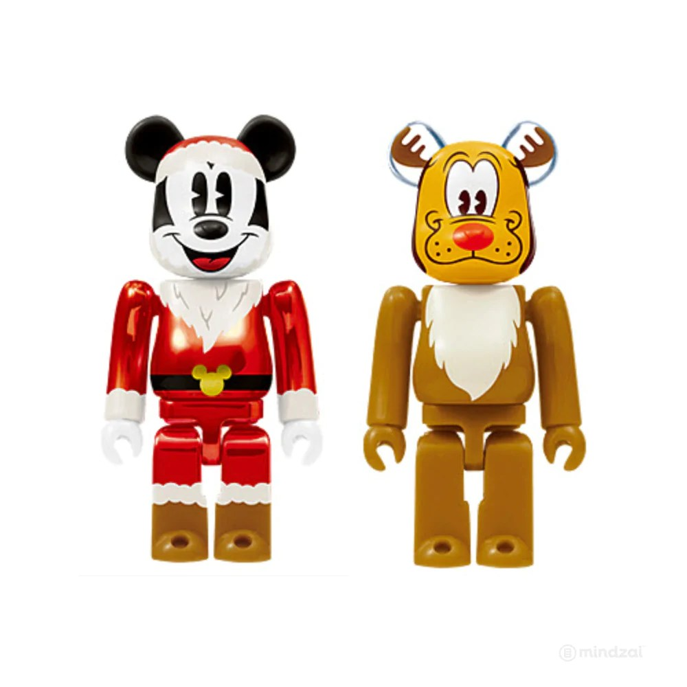 Pluto Mickey Disney Bearbrick Unbreakable Christmas Party Mickey Mouse Santa Metallic Red And Pluto Reindeer Last Prize