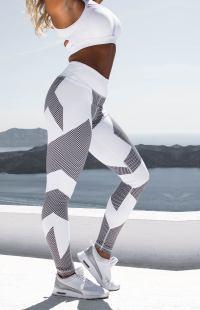 Signature Carbon Design Leggings - White - Nero Apparel