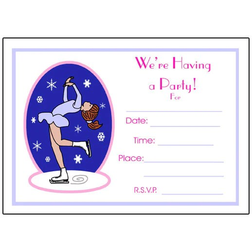 Ice Skating Fill In The Blank Birthday Party Invitations