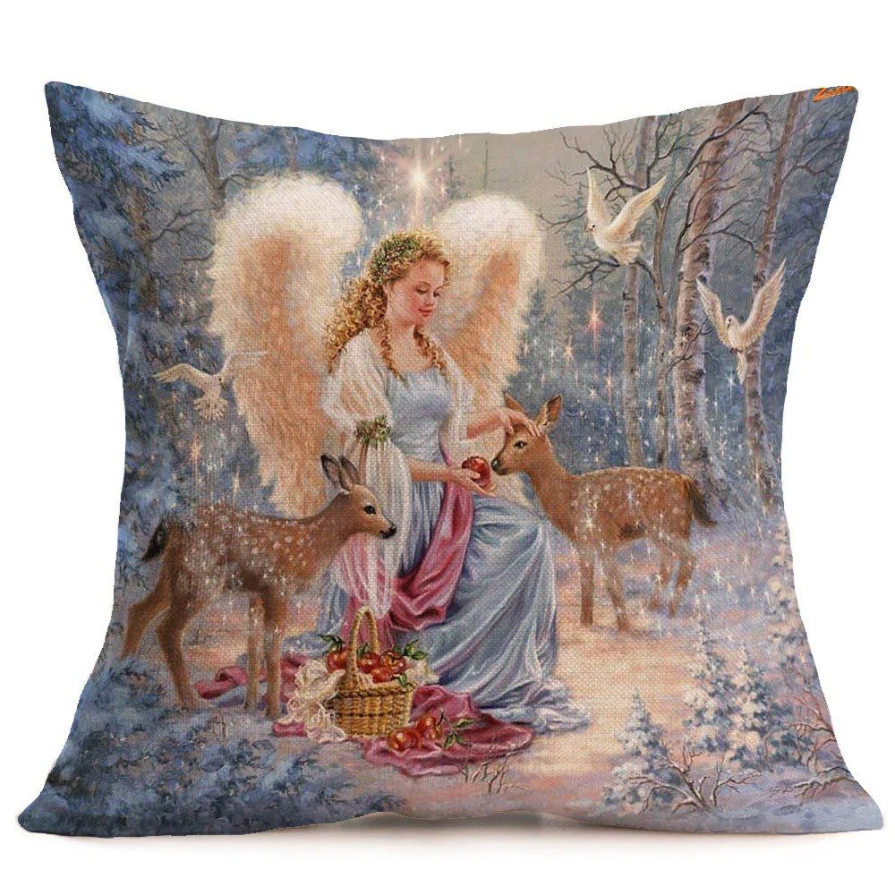High Quality Sofa Pillows 4pcs Merry Christmas Linen Pillow Cases Sofa Cushion Cover Home Decor 18x18 Inch