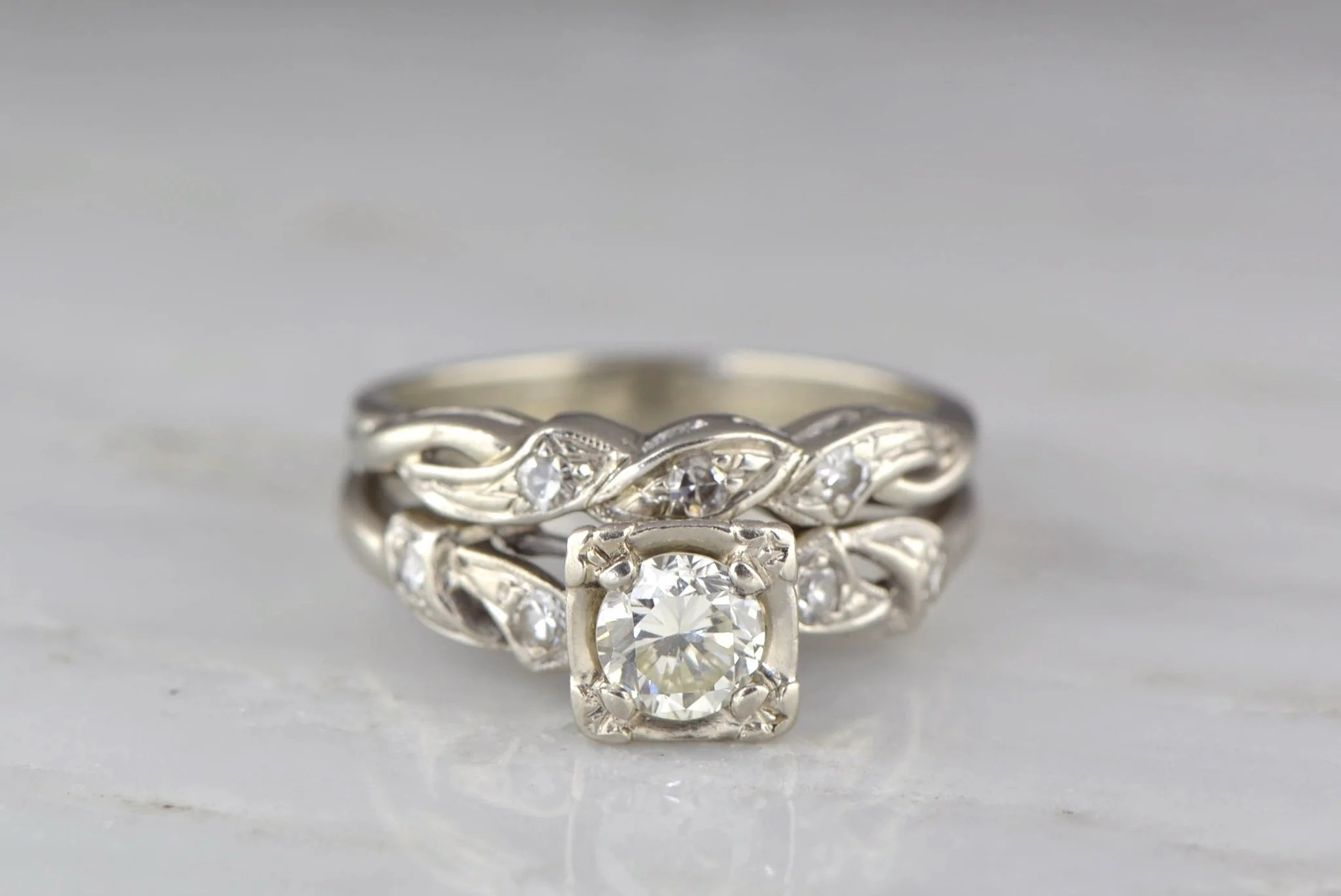 pp art deco wedding band 78ctw Art Deco 57ct Cottage Chic Diamond and White Gold Engagement Ring and Wedding Band Set