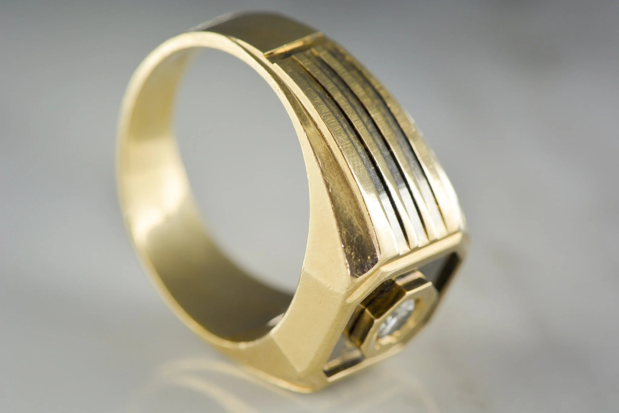 mens lemans wedding band or pinky ring with 25 carat diamond in 14k yellow gold pp antique mens wedding bands Vintage Men s LeMans Wedding Band or Pinky Ring with 25 Carat Diamond in 14K Yellow Gold