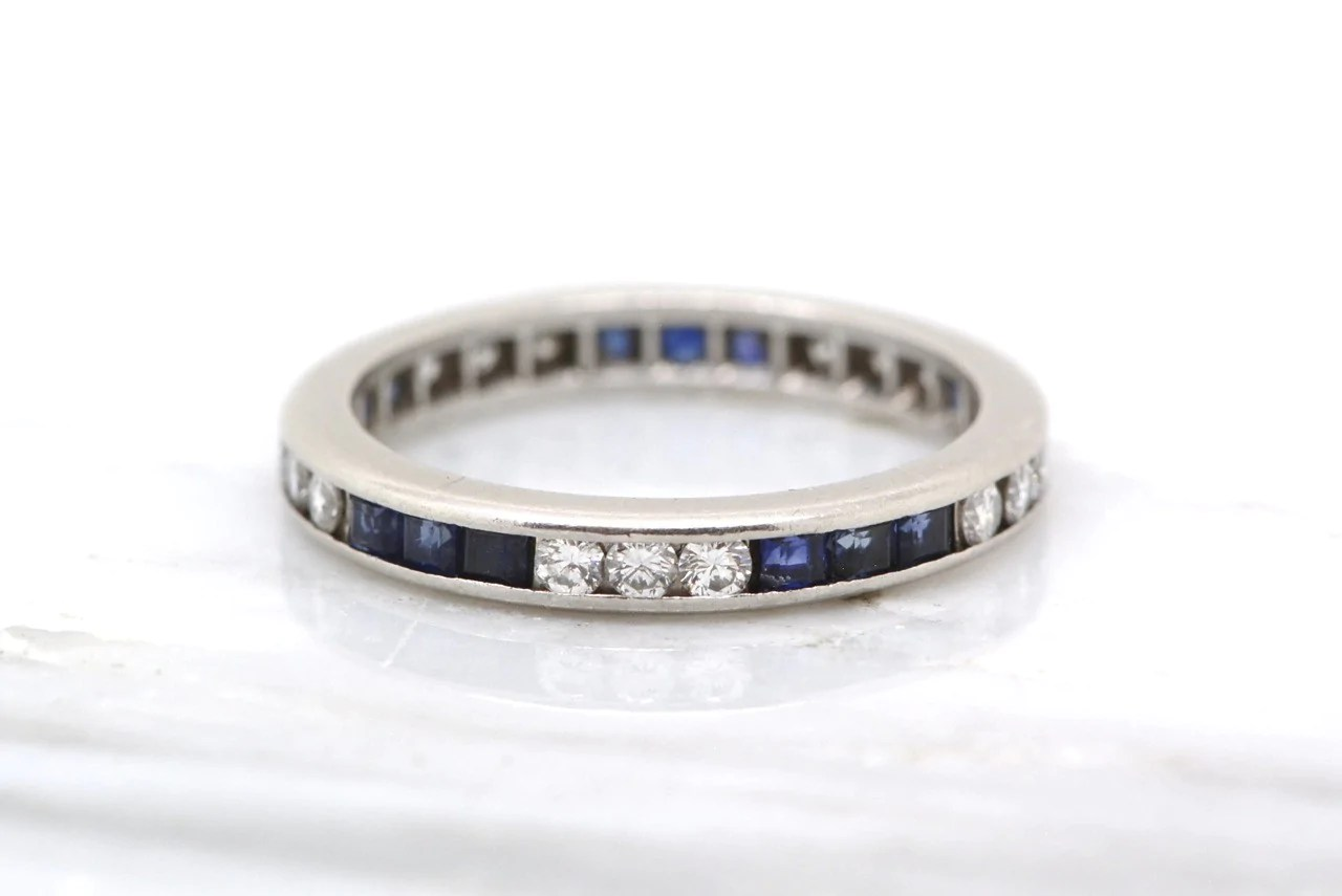 antique platinum 1 2ctw art deco wedding band stacking ring with 15 round diamonds and 15 square sapphires r art deco wedding band 1 20 ctw Art Deco Wedding Band Stacking Ring with 15 Round Brilliant Diamonds and 15 Square Cut Sapphires