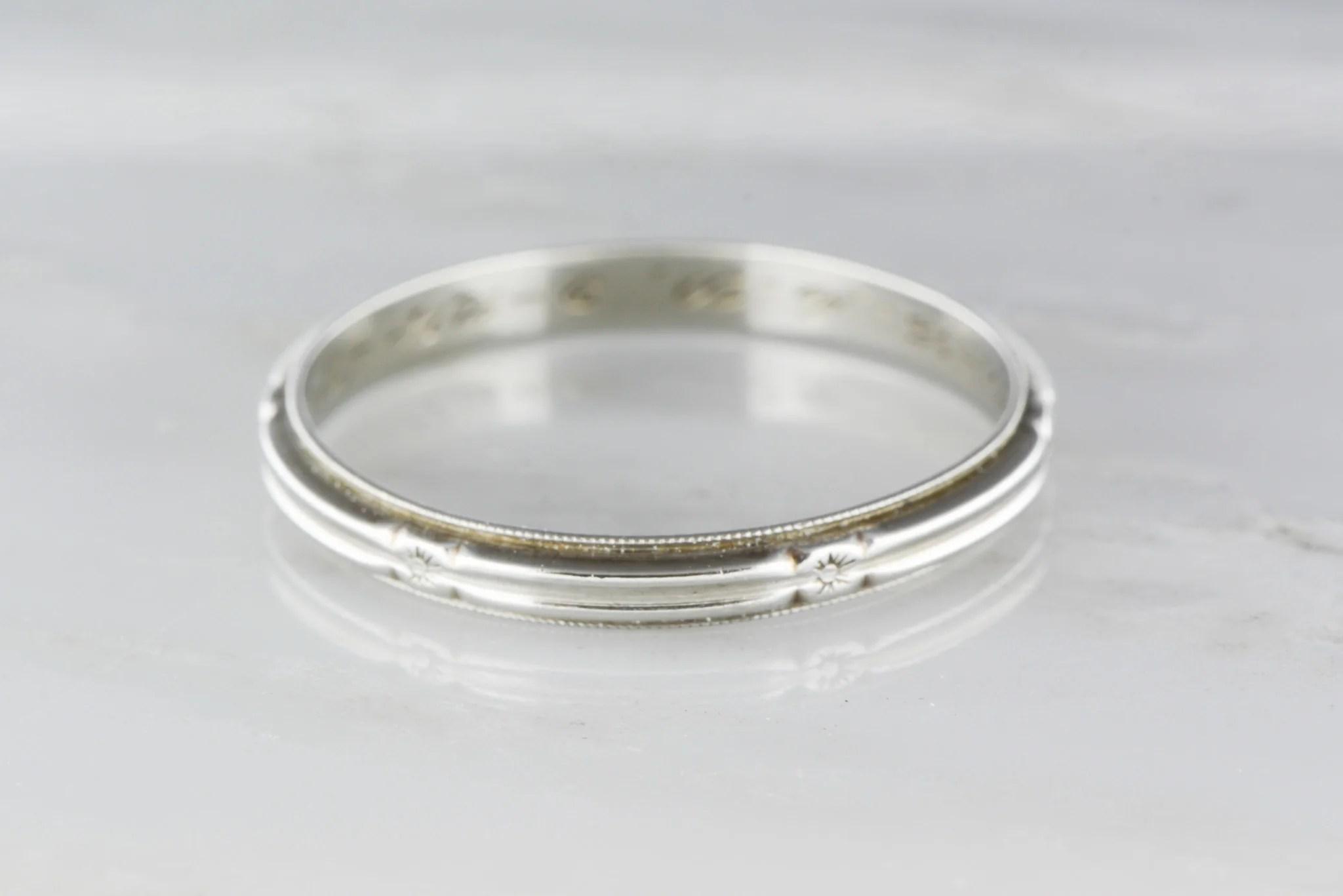 art deco band antique mens wedding bands Antique Men s 14K White Gold Art Deco Wedding Band Engraved 9 24 34 TS