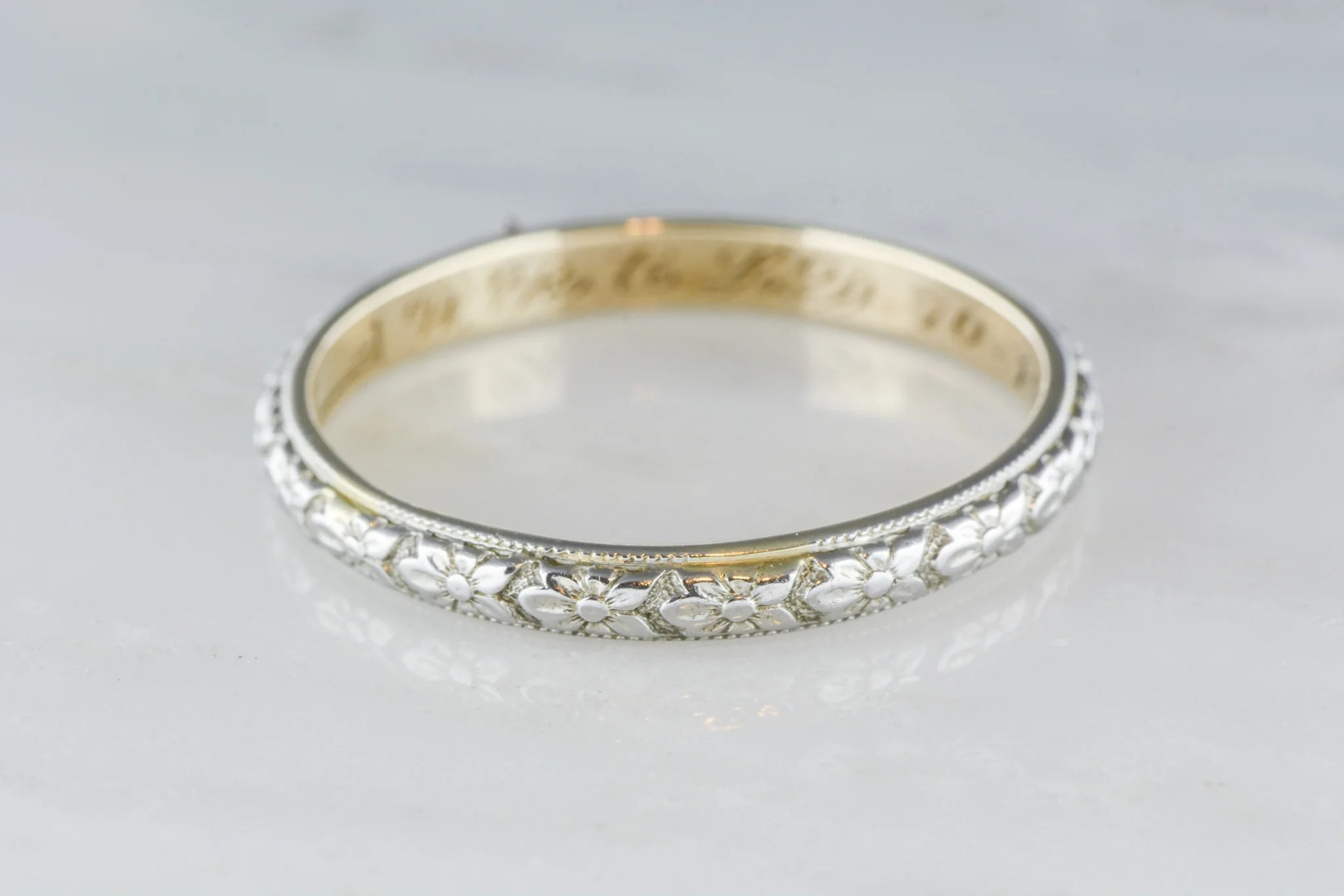 antique wedding band antique mens wedding bands Patterned Wedding Band Set Vintage Style Wedding Rings His and Hers Set Antique Style Rings 14K Gold Rococo Flourish Set His and Hers Bands