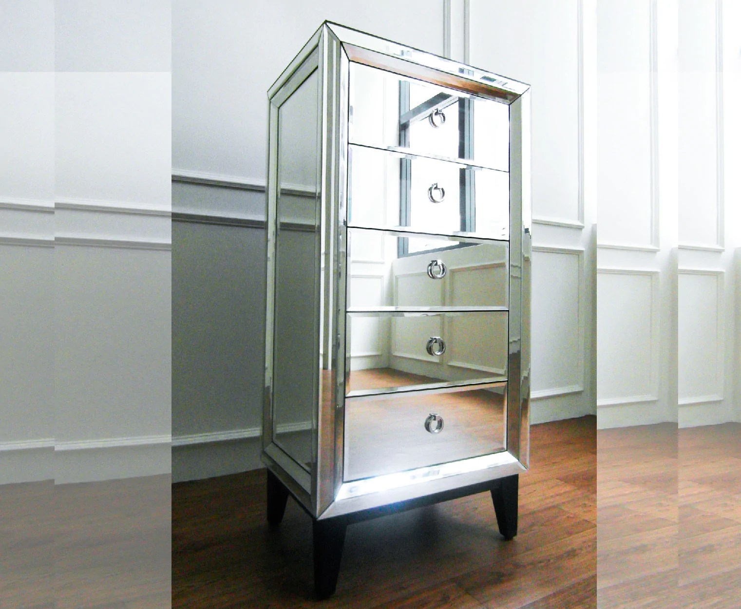Mirrored Tall Boy Etienne Bed Chamber Mirrored Tall Boy Finnavenue