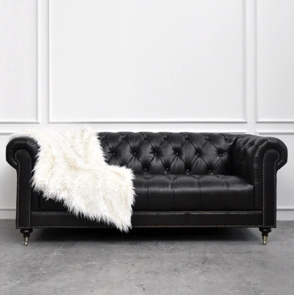 Yorkshire Leather Chesterfield Sofa 3 Seater Charcoal