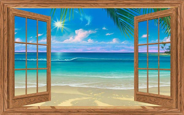 3d Wallpaper For Kitchen Paradise Beach Natural Wood Paneled Window Mural 3 Sizes