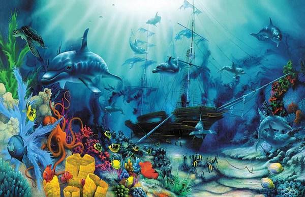 3d Animated Wallpaper For Pc Desktop Free Download Windows 7 Quot Ocean Treasures Quot Shipwreck Poster 24 Quot X 36 Quot Murals 101
