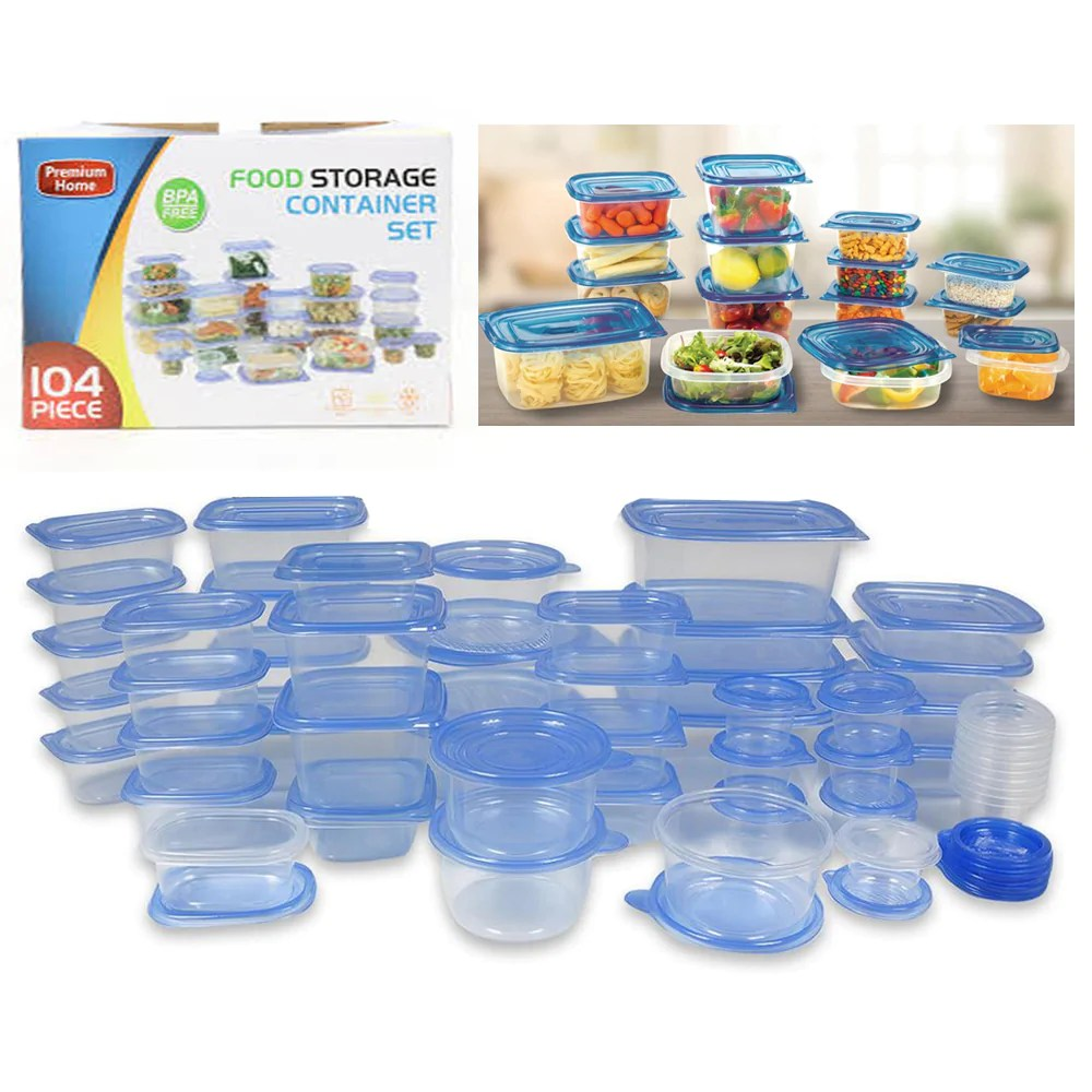104 Pc Food Storage Container Set Lids Bpa Free Meal Prep Kitchen Plas Alltopbargains