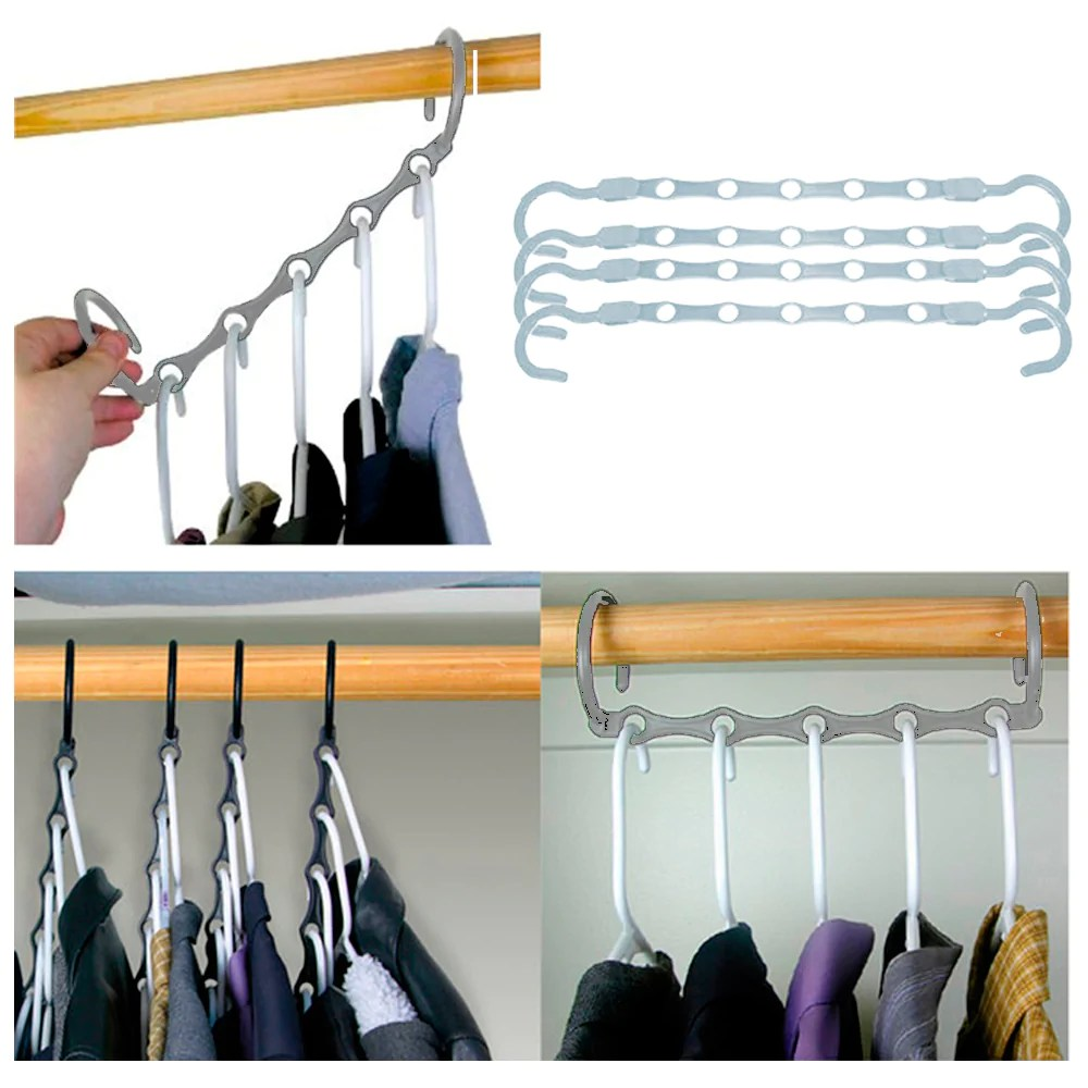 Cloth Hanger Stand New Lot 4 Space Saver Wonder Magic Clothes Hangers Closet Organizer Hooks Stand