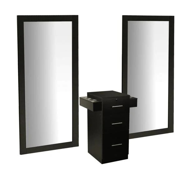 Decosalon Deco Salon Vega Dual Styling Station For 2 Stylists W Tall Mirror Cabinet Drawers