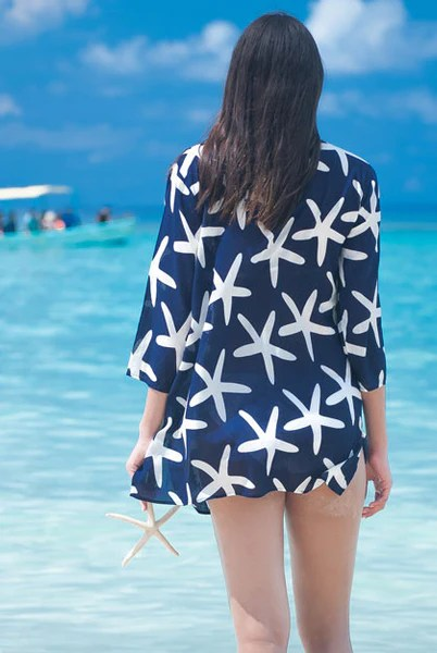 Aqua Color Starfish-cotton-beach-tunic-coverup – West Indies Wear