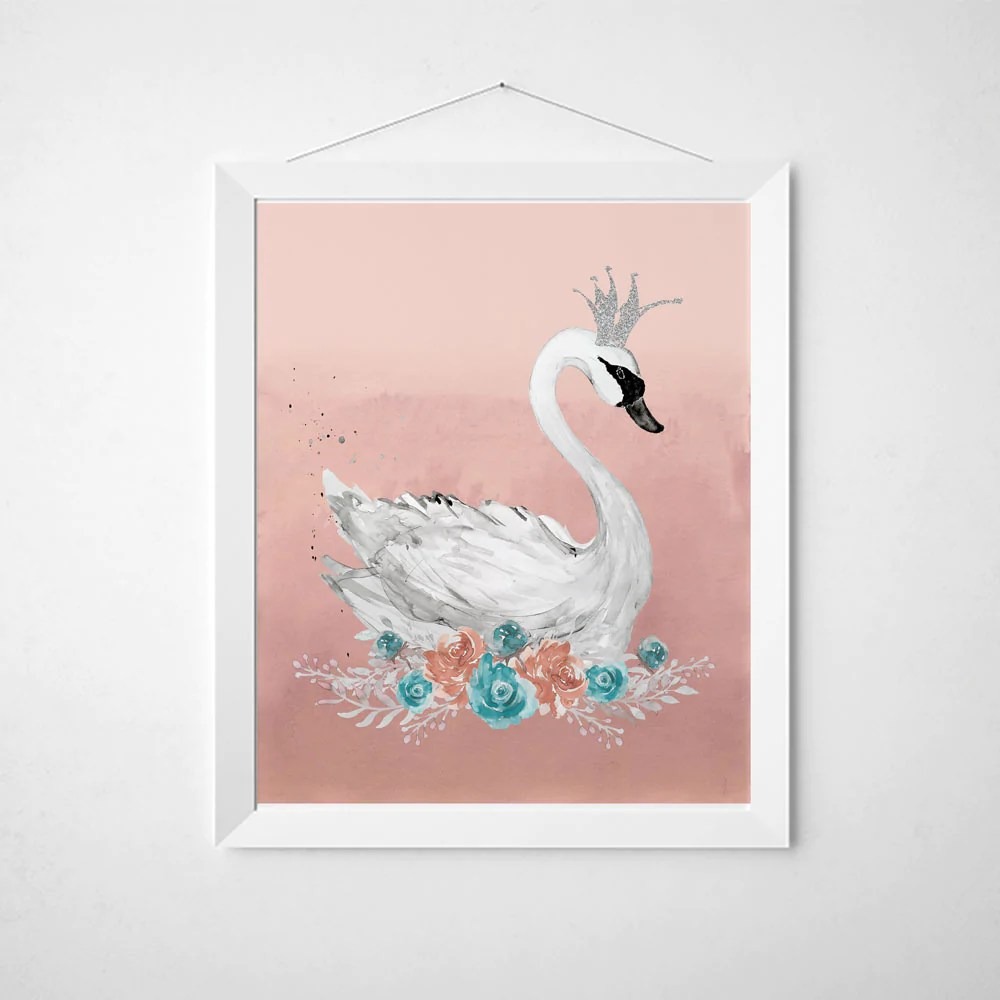Nursery Prints Girl Swan Nursery Print In Pink And Teal Baby Girl Nursery Wall Art