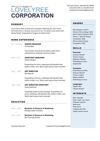 sample of general resumes