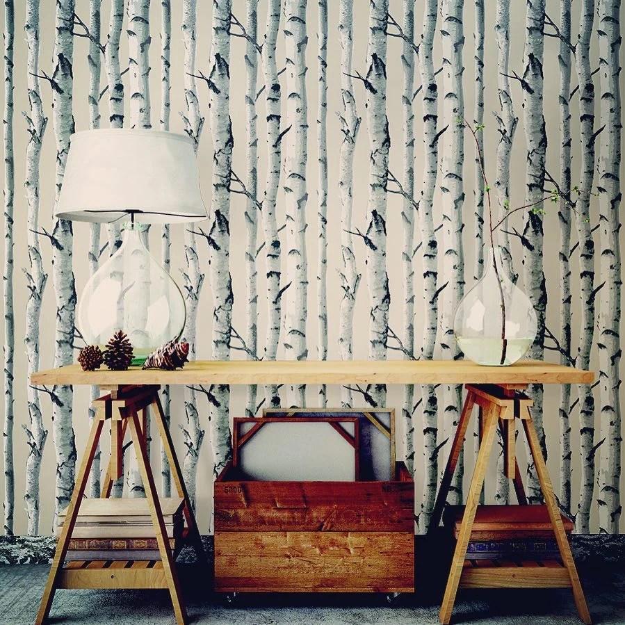 Birch Trees NU Wallpaper Peel Stick Wallpaper | NU1650 – D. Marie Interiors