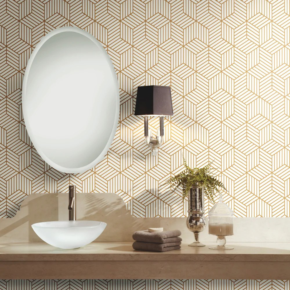 Chic Contemporary Modern Wallpaper Geometric Gold Hexagon Peel And Stick Mid Century Modern Wallpaper