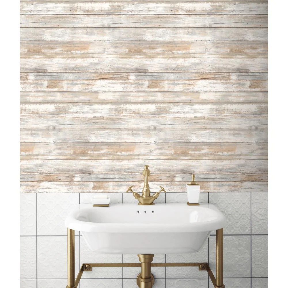 Distressed Barnwood Plank Wood Peel and Stick Wallpaper | RMK9050WP – D. Marie Interiors