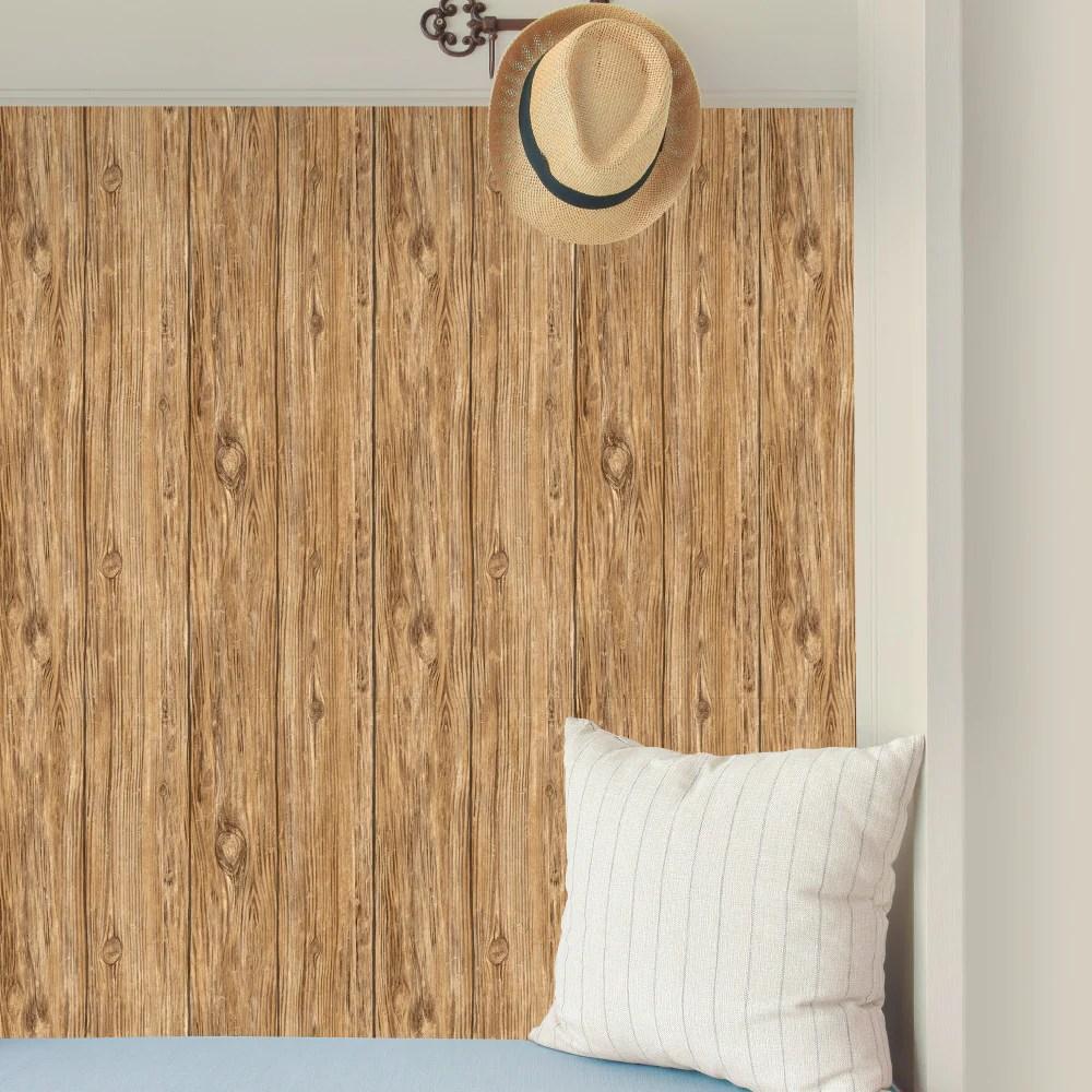 Brown Distressed Shiplap Rustic Wood Peel and Stick Wallpaper   RMK9088WP – D. Marie Interiors