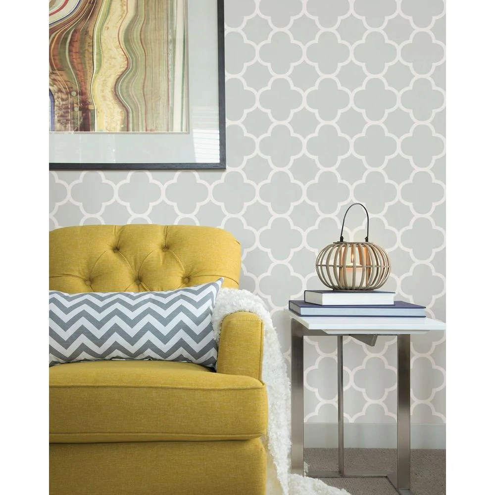 Chic Contemporary Modern Wallpaper A Street Prints Origin Grey Quatrefoil Wallpaper
