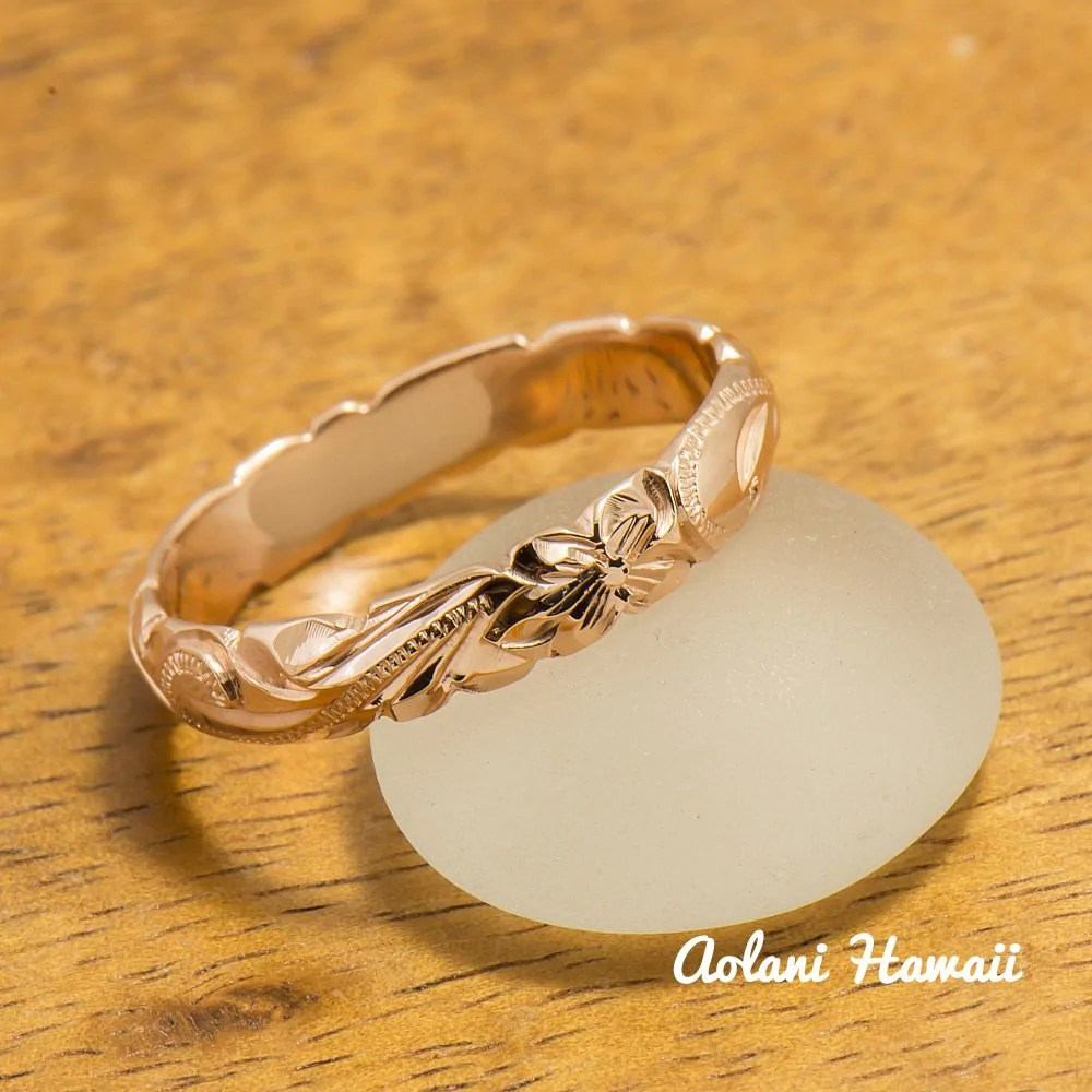 gold wedding ring set of traditional hawaiian hand engraved 14k pink gold barrel rings 4mm 6mm width hawaiian wedding rings Gold wedding Ring Set of Traditional Hawaiian Hand Engraved 14k Pink Gold Barrel Rings 4mm