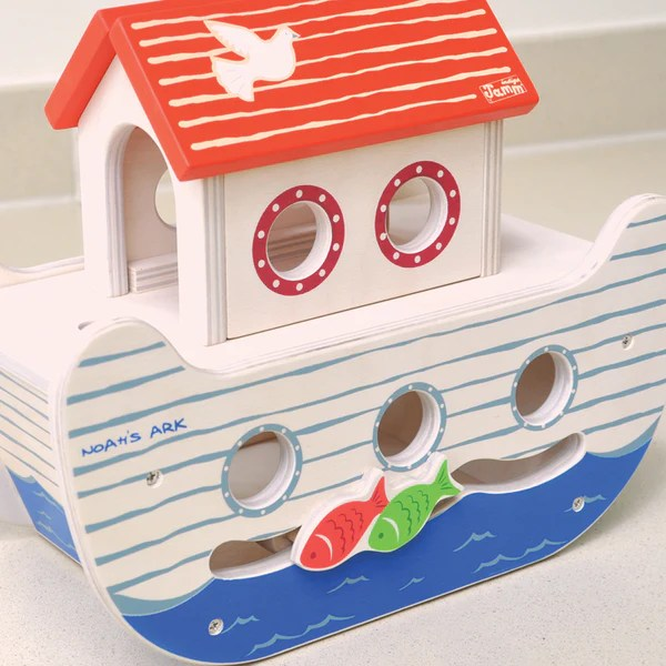 Noahs Ark Wooden Toy Christening Gift With Peg People